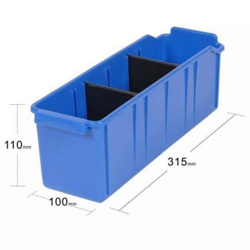 PL32010 - Blue Parts Tray 315D x 100W x 110H including 2 dividers - Dimensions