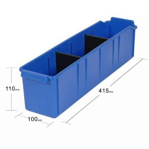 PL32060 - Blue Parts Tray 415D x 100W x 110H including 2 dividers - Dimensions