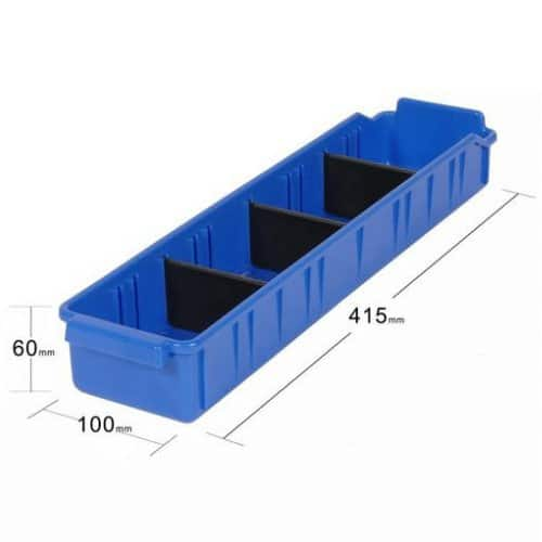 PL32080 - Blue Parts Tray 415D x 100W x 60H including 3 dividers - Dimensions