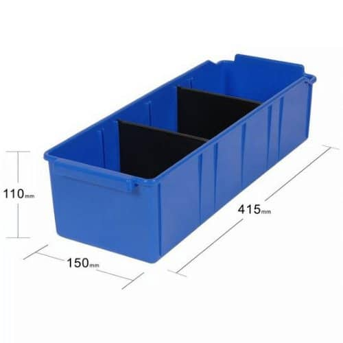 PL32160 - Blue Parts Tray 415D x 150W x 110H including 2 dividers - Dimensions