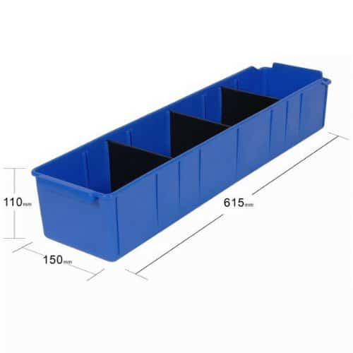 PL32210 - Blue Parts Tray 615D x 150W x 110H including 3 dividers - Dimensions