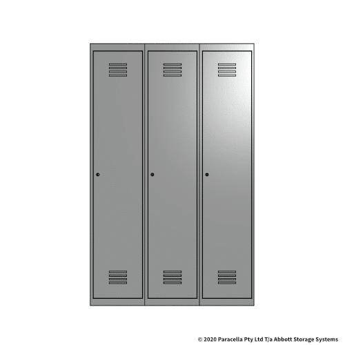 Grey 1 Door Locker 1800H x 375W x 450D Bank of 3