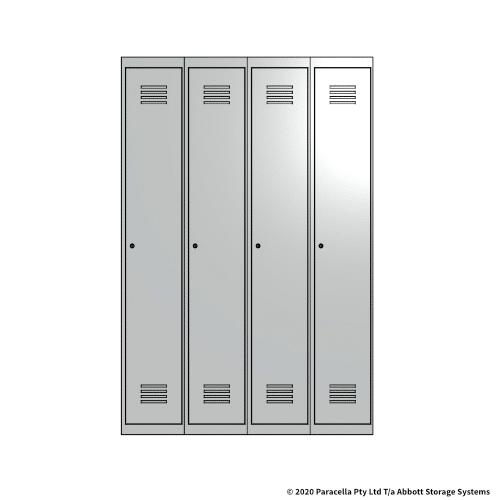 White 1 Door Locker 1800H x 1200W x 450D Bank of 4