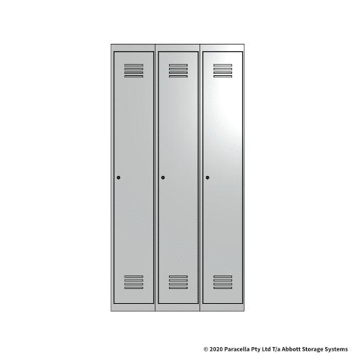 White 1 Door Locker 1800H x 300W x 450D Bank of 3