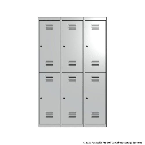 White 2 Door Locker 1800H x 375W x 450D Bank of 3