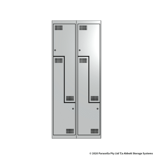 White 2 Door Stepped Locker 1800H x 375W x 450D Bank of 2