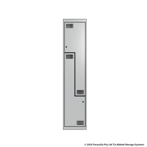 White 2 Door Stepped Locker 1800H x 375W x 450D Single