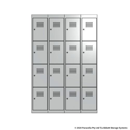 White 4 Door Locker 1800H x 300W x 450D Bank of 4