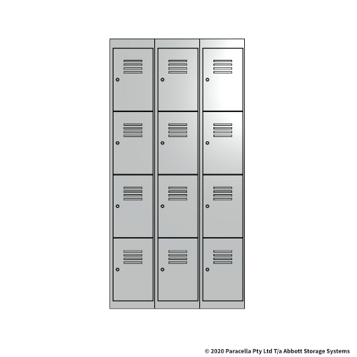 White 4 Door Locker 1800H x 300W x 450D Bank of 3