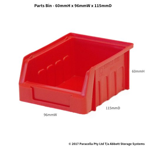 PL30020 Parts Bin Metro 96w x 115d x 60h Red