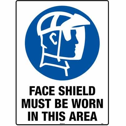 WS11083 - Safety Sign 450 x 300mm - Metal - Face Shield Must be Worn