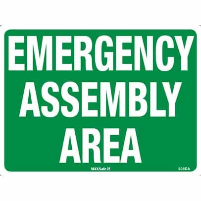 WS15093 - Safety Sign 450 x 300mm - Metal - Emergency Assembly Area