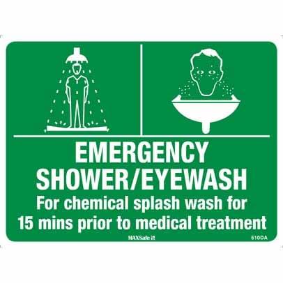 WS15103 - Safety Sign 450 x 300mm - Metal - Emergency Shower-Eyewash