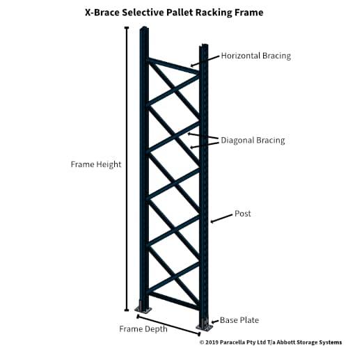X-Brace Selective Pallet Racking Frame