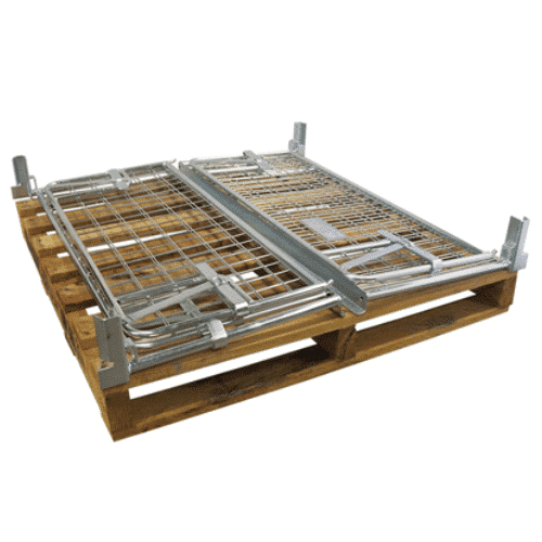 Steel Cage Includes Hardwood Pallet Collapsed