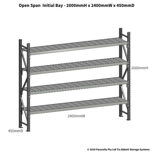 Open Span OS43650 2000H 2400W 450D Steel Shelf Panels Initial