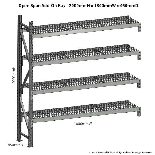 Open Span OS44640 2000H 1800W 450D Wire Shelf Panels Add-On