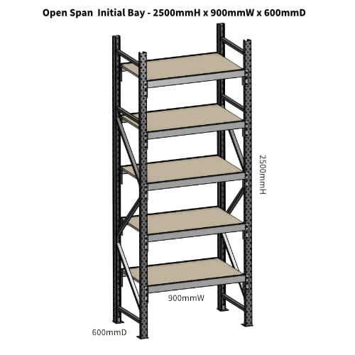 Open Span OS42949 2500H 900W 600D Particle Board Initial