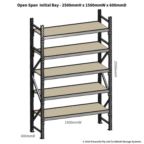 Open Span OS42851 2500H 1500W 600D Particle Board Initial