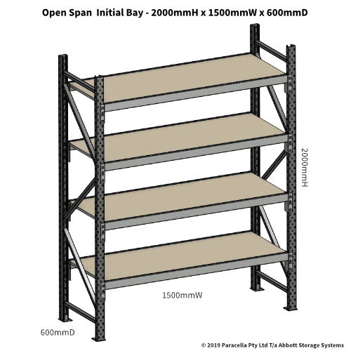 Open Span OS42791 2000H 1500W 600D Particle Board Initial
