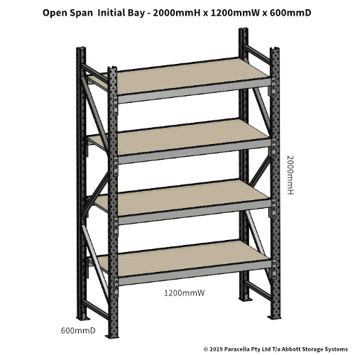 Open Span OS42790 2000H 1200W 600D Particle Board Initial