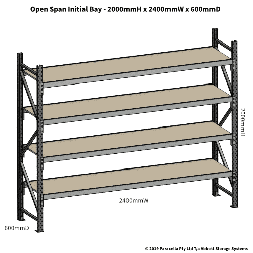 Open Span OS42830 2000H 2400W 600D Particle Board Initial
