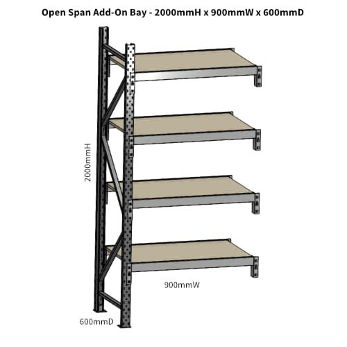 Open Span OS42799 2000H 900W 600D Particle Board Add-On