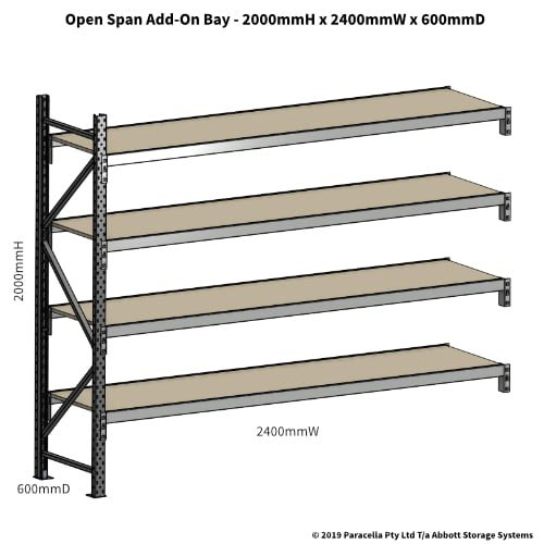 Open Span OS42840 2000H 2400W 600D Particle Board Add-On
