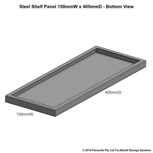 Steel Shelf Panel 450D x 150W - Bottom View