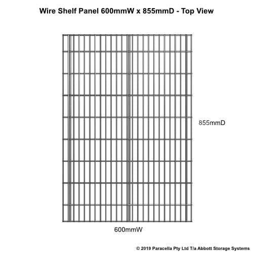 Wire Shelf Panel 900D x 600W - Top View