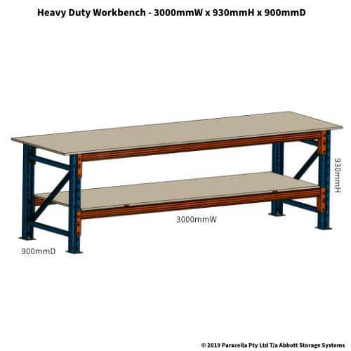 PR47160 Workbench Heavy Duty 3000W x 900D x 930H - Drawing