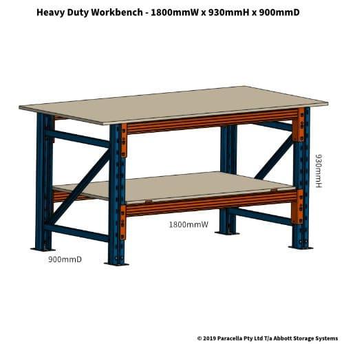 PR47110 Workbench Heavy Duty 1800W x 900D x 930H - Drawing