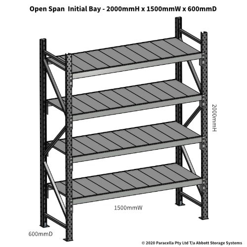 Open Span OS43791 2000Hx1500Wx600D Initial Bay - Dimensions