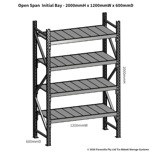 Open Span OS43790 2000Hx1200Wx600D Initial Bay - Dimensions