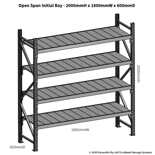 Open Span OS43810 2000Hx1800Wx600D Initial Bay - Dimensions