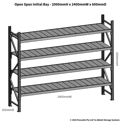 Open Span OS43830 2000Hx2400Wx600D Initial Bay - Dimensions