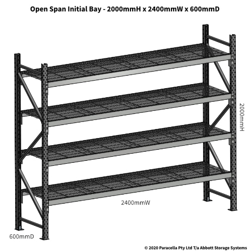 Open Span OS44830 2000Hx2400Wx600D Initial Bay - Dimensions