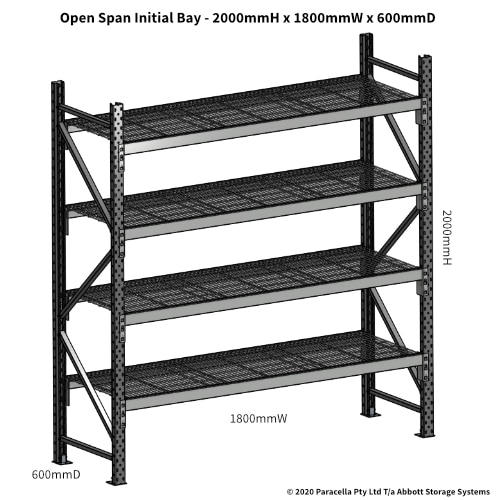 Open Span OS44810 2000Hx1800Wx600D Initial Bay - Dimensions