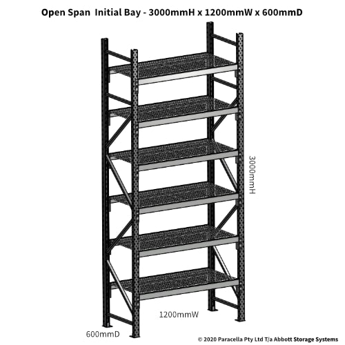Open Span OS44910 3000Hx1200Wx600D Initial Bay - Dimensions