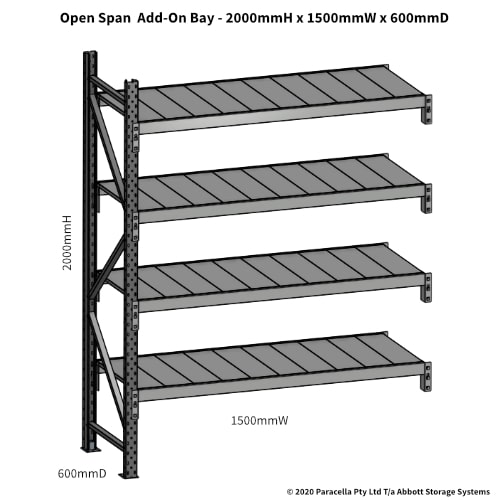 Open Span OS43801 2000Hx1500Wx600D Add-On Bay - Dimensions