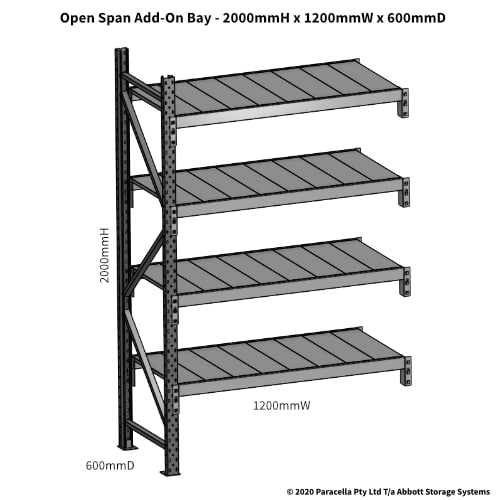 Open Span OS43800 2000Hx1200Wx600D Add-On Bay - Dimensions