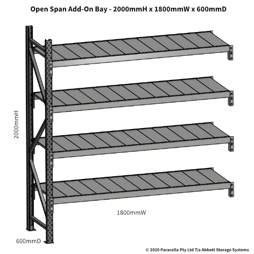 Open Span OS43820 2000Hx1800Wx600D Add-On Bay - Dimensions