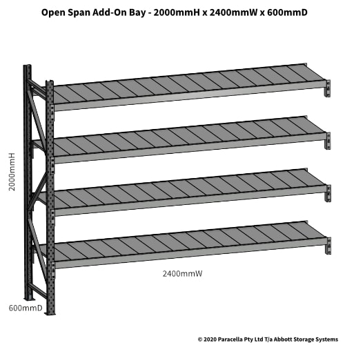 Open Span OS43840 2000Hx2400Wx600D Add-On Bay - Dimensions