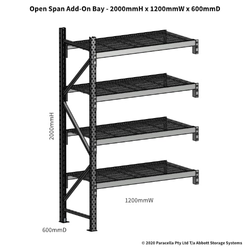 Open Span OS44800 2000Hx1200Wx600D Add-On Bay - Dimensions