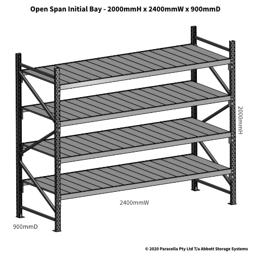 Open Span OS43992 2000Hx2400Wx900D Initial Bay - Dimensions