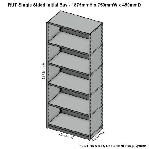 RU41211S - RUT 1875H x 750W x 400D Single Sided Initial Bay - Dimensions
