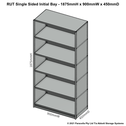 RU41321S - RUT 1875H x 900W x 450D Single Sided Initial Bay - Dimensions