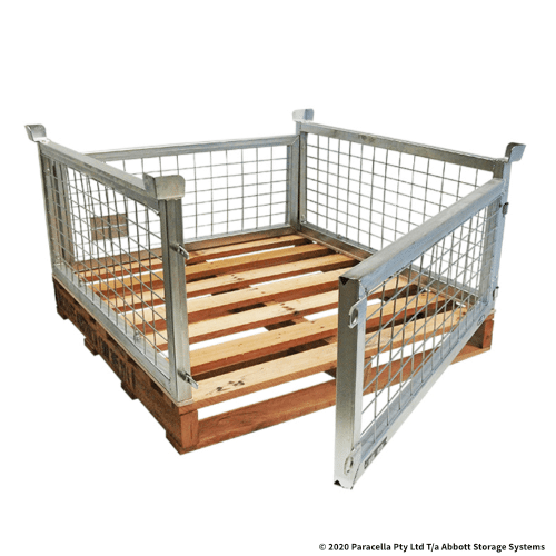 PS73101 500H Bolt on Pallet Cage with Hardwood Pallet