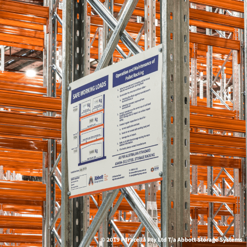 Selective Pallet Racking - Safe Working Load Sign