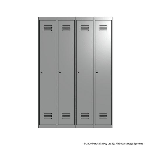 Grey 1 Door Locker 1800H x 300W x 450D Bank of 4
